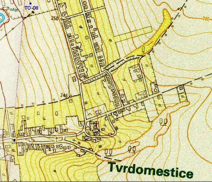 stará mapa obce Tvrdomestice