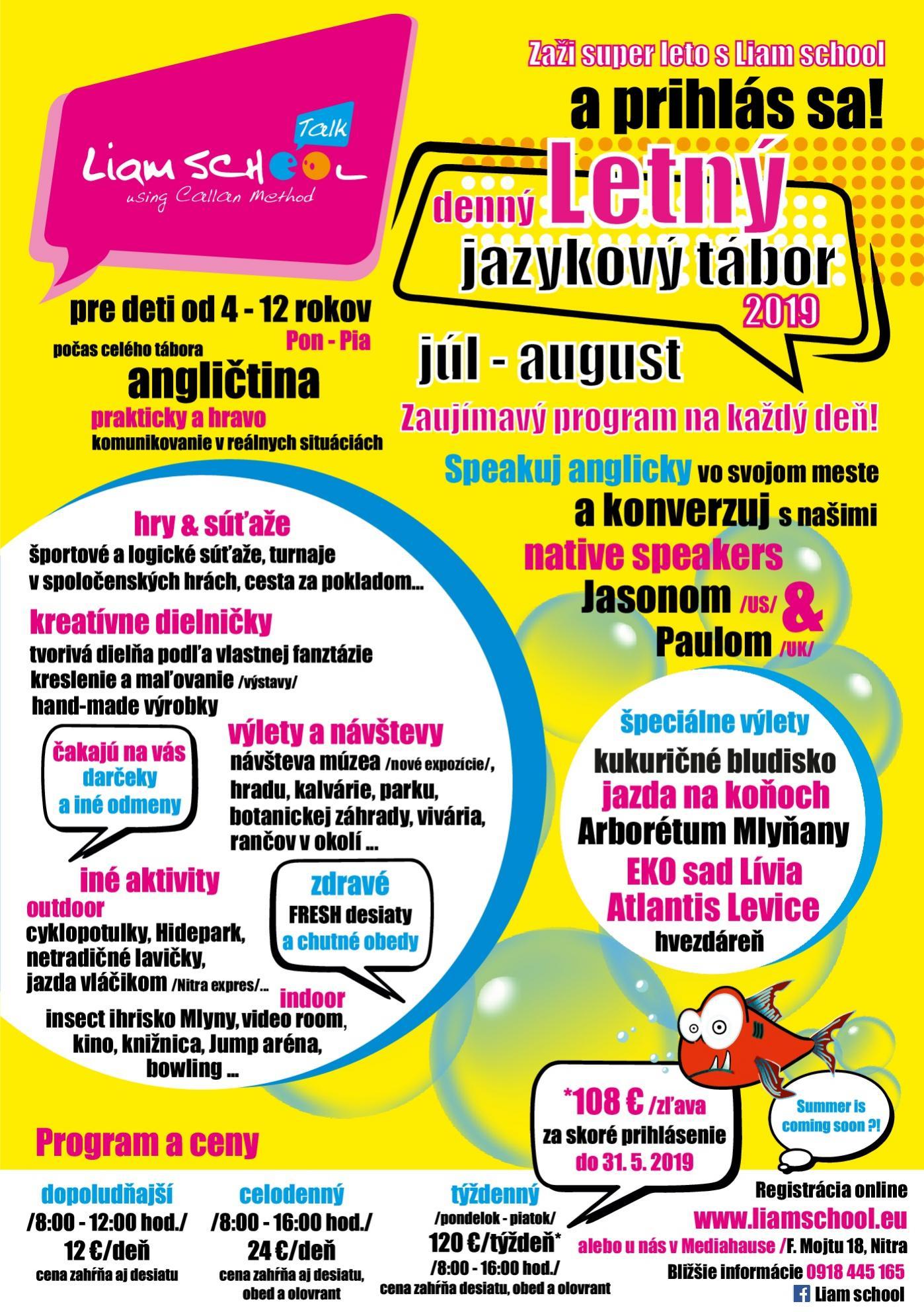 Jazyková škola Liam School Nitra anglický jazyk výučba jazyka pre firmy Callanová metóda Letný tábor pre deti
